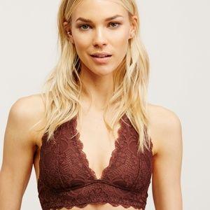 Women's Brown Galloon Lace Halter Bra Medium